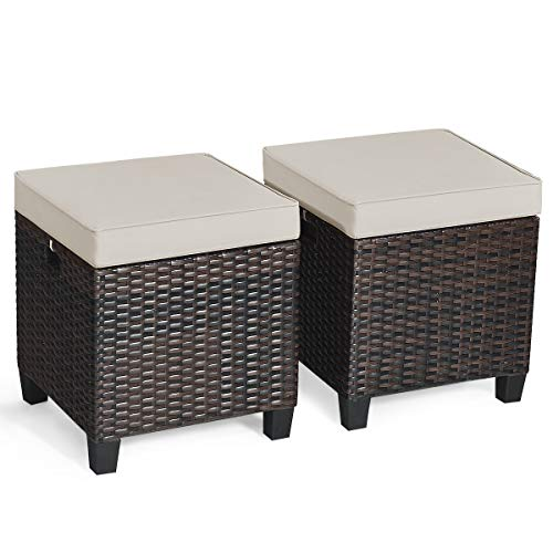 Tangkula 2 Pieces Outdoor Patio Ottoman, All Weather Rattan Wicker Ottoman Seat, Patio Rattan Furniture, Outdoor Footstool Footrest Seat w/ Removable Cushions (Brown)