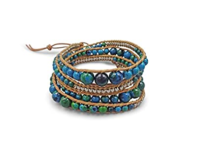 """Multi-layer Hand Crafted Mix Stone or Cultured Fresh Water Pearl Beaded on Genuine Leather Boho Style Leather Wrap Bracelet Super Wrap Bracelet 35"""" Long, up to 5 Wraps."""