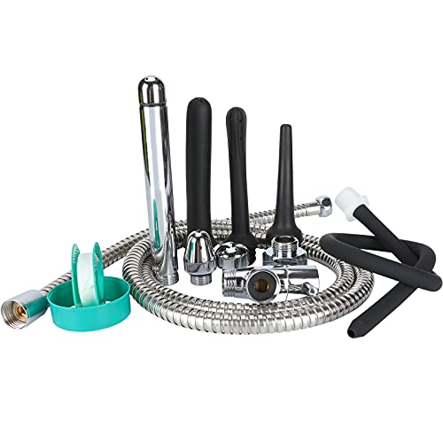 Shower Enema System, Douche Colonic Cleanse Kit, 5-Foot Stainless Steel Shower Hose Enema with Enema Showerhead Vaginal and Anal Cleaning Kit Colonic System Cleaner for Most Shower Systems