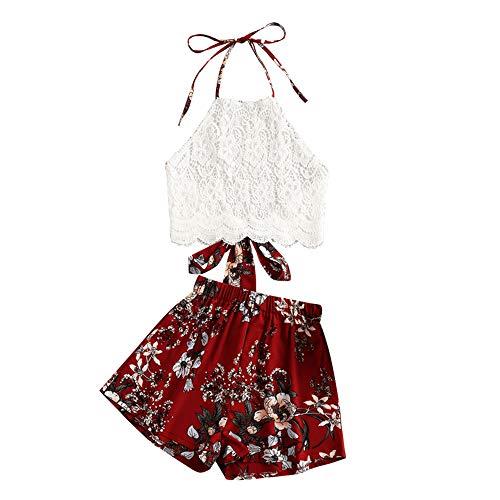 ZAFUL Damen Blumendruck Lace Panel Neckholder Zurückbinden Crop Tank Top und Shorts Set(Rot,M)
