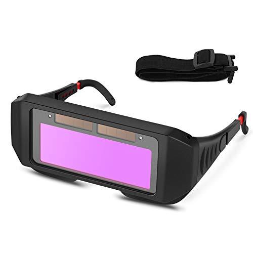 Gafas de Soldar con Oscurecimiento Automático Solar, Gafas de Soldador TIG MIG, Gafas Protectoras de Seguridad para los Ojos, Máscara Gafas Antideslumbrantes Antideslumbrantes, Negro