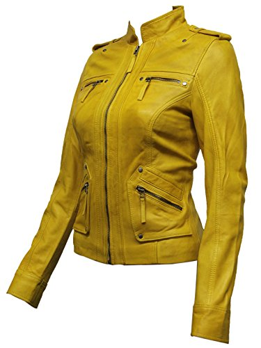 Ladies Womens Leather Biker Jacket from Real Sheep Leather with Washed Waxed Effect Asymmettric BNWT (2X-Large 16)