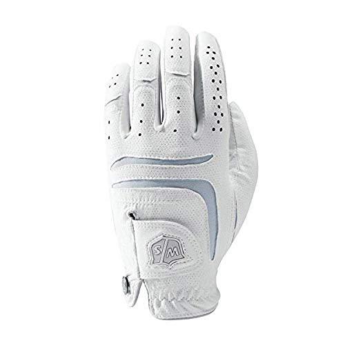 Wilson Staff Damen Golfhandschuh, Grip Plus, Material-Kombi, Größe: M, Linkshand, LLH, weiß, WGJA00101M