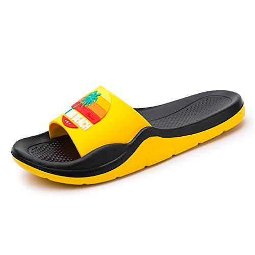[長途跋株式會] 女性スリッパフリップフロップ夏のスライド女性の靴クリスタルダイヤモンドキラキラビーチスライドサンダルカジュアルシューズスリップオン 20cm 黄