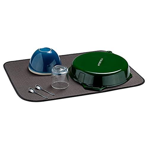 Navaris Alfombrilla escurreplatos Grande - Bayeta XL Plegable para escurrir Platos Vasos - Alfombra de Microfibra para la Cocina - Apta para Lavadora
