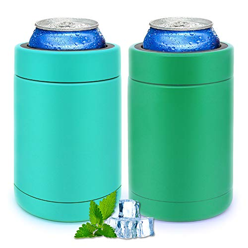 Slim Can Cooler Coozie Skinny Stainless Steel Bottle Beer Insulators for Slim 12 Oz Cans, Set of 2