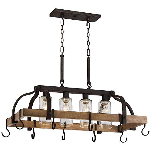 Eldrige Bronze Wood Pot Rack Linear Pendant Chandelier Lighting 36 ½' Wide Rustic Farmhouse Clear Seed Glass 4-Light Fixture Kitchen Island Dining Room House High Ceilings - Franklin Iron Works