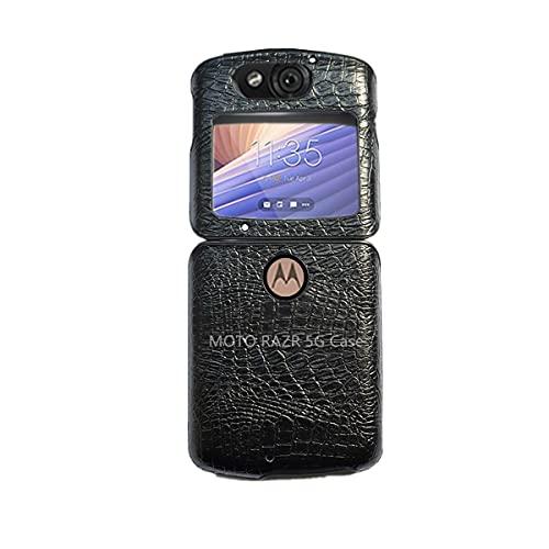 FainWan Wird für Motorola LG Wing 5G 2020 XT2071 schwarze Lederhülle, stoßfest, klappbar, PU-Leder + harte TPU-Schutzhülle.