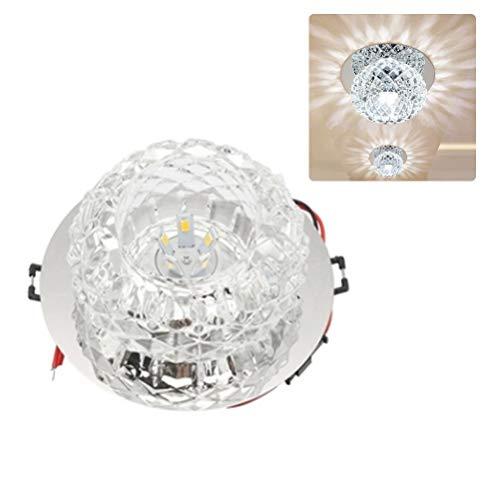 Smosyo Lámpara de Techo LED Cristales Transparentes a Prueba de Salpicaduras IP54 Ventilador de Techo LED con iluminación lámpara de baño lámpara de Techo lámpara de baño