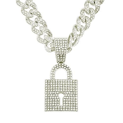 RXSHOUSH Collar de mujer con colgante de circonita, 50 cm, cadena cubana de oro/plata, collar de joyería de plata