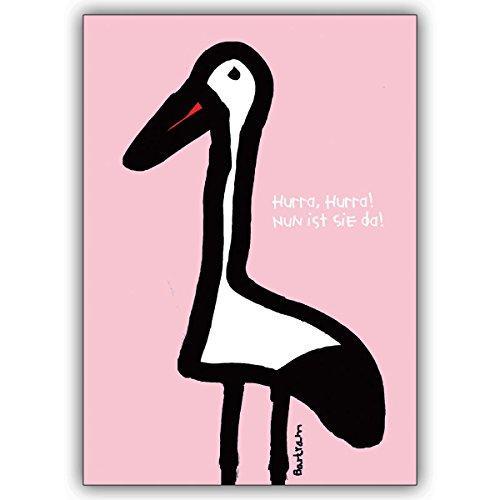 Wenskaarten met korting voor hoeveelheid: storchen babykaart voor de geboorte van een meisje: Hurra, hurra! Nu is ze er! • Schattige welkomstkaart, geboortekaart voor moeder en kind, voor medewerkers, familie 10 Grußkarten