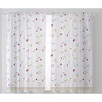 Cardenal Textil Fresón Cortina Cocina Visillo, Tela, Beige, Pack 2 100 x 140 cm