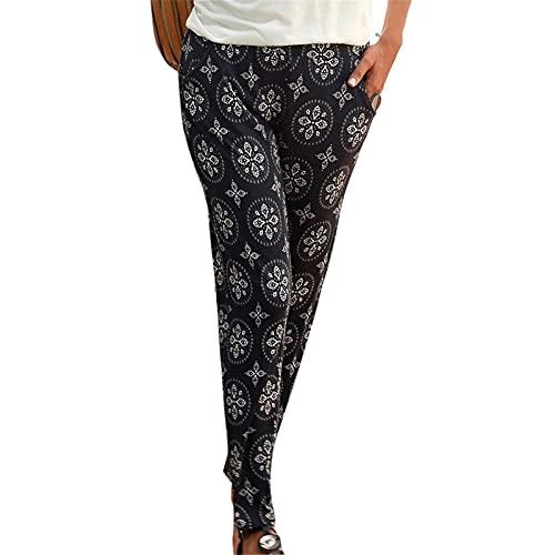 YANFANG Pantalones De Camuflaje con Estampado Leopardo, Cintura Alta, Casual Cordones, Damas,Pantalones CháNdal Leopardo para Mujer EláSticos Casuales EláStica,Negro,XXL
