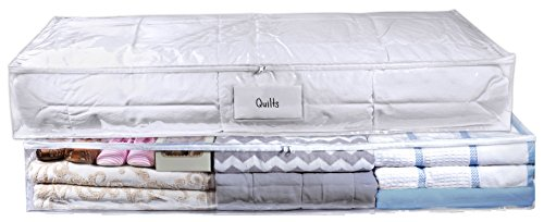 Clear Underbed Storage Bag - Durable Vinyl Material to Shield Your Contents from Dust, Dirt and Moisture. Easy Gliding Zipper for Easy Access and Label Pocket for Easy Identification. (2-Pack)