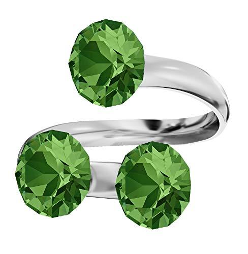 """Beforya Paris - Anillo triple """"Xirius"""" de plata de ley 925 para mujer, con cristales Swarovski® Elements, en muchos colores, tamaño ajustable ¡Elegancia absoluta! PIN/75 (color verde)."""