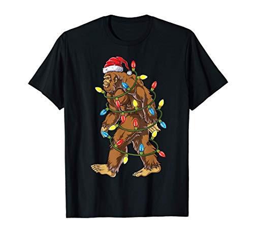Bigfoot Santa Christmas Tree Lights Xmas Boys Men Sasquatch T-Shirt
