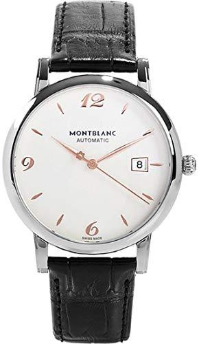 Reloj Montblanc Star Steel Collection 110717automático acero quandrante blanco correa piel