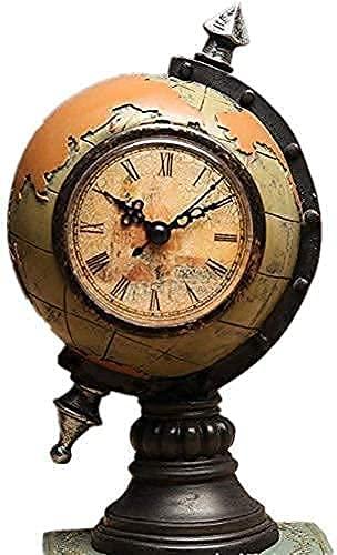 aipipl Globo de Escritorio Explore The World Globo Giratorio Educativo Retro Tierra Creativa con Relojes y decoración de Relojes Gabinete de Vino Decoración de Ventanas Artesanía Accesorios para el