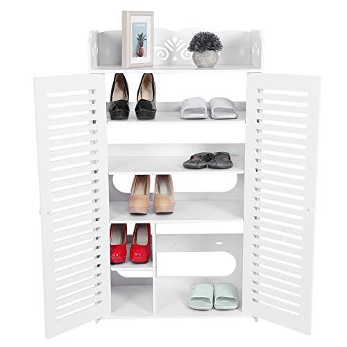 EBTOOLS Estantería para Zapatos, Zapatero Entrada Blanco, Organizador de Zapatos para Entrada Pasillo Balcón, 107x32x60cm