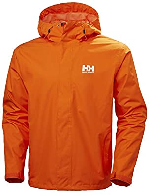 Helly Hansen Men's Seven J Waterproof Windproof Breathable Hooded Rain Coat Jacket, 226 Bright Orange, Large