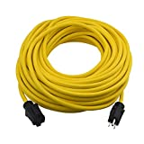 Clear Power 100 ft Heavy Duty Outdoor Extension Cord 12/3 SJTW, Water & Weather Resistant, Flame Retardant, Yellow, 3 Prong Grounded Plug, CP10146
