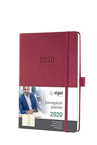SIGEL C2068 Agenda semanal 2020 Conceptum, tapa dura, 14,8 x 21,3 cm, rojo oscuro