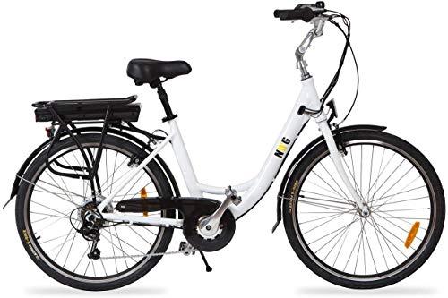 Cityboard NWG Bicicleta Eléctrica de Paseo de 26', Adultos Unisex, Blanco
