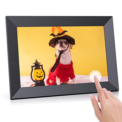 Cornice digitale WiFi FRAMEO Touchscreen IPS HD da 10,1 pollici, cornice digitale intelligente con memoria da 16 GB, rotazione automatica, condivisione di foto/video da qualsiasi luogo, persone care