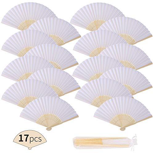17 Piezas Blanco de tela Plegable Ventilador Con Marco de Bambú y el bolso del organza Para Banquete de boda el Baile Cosplay Iglesia Decoración de La Boda