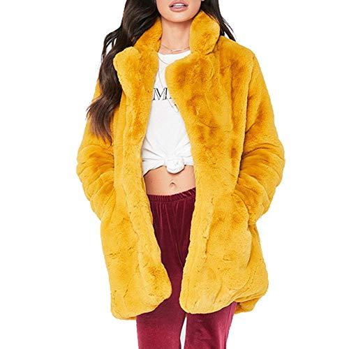 CHIYEEE Damen Plüschmantel Freizeit Jacke Mode Herbst Winter Langarm Strickjacke Lässig Mantel Plüsch Oberteil Gelb XL