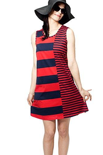 Nanso Sommerkleid Strandkleid Kleid 95 cm lang Gr. XS S M L XL XXL Modal Baumwolle (32-34 / XS, Navy-Rot)
