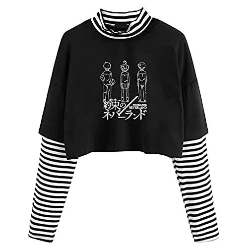 GOTH Perhk Camisa de manga larga con estampado de rayas Emma Norman Ray Stripe Stitching, Novel Black, M