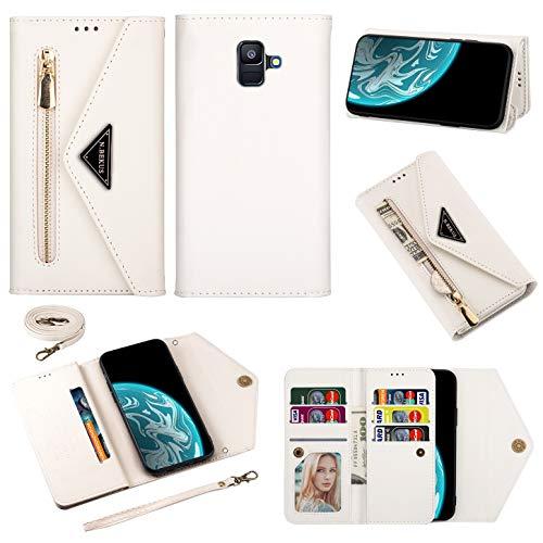 Vepbk Brieftasche Hülle für Samsung Galaxy A6 2018 / A600 Handyhülle, Handytasche Case Leder Geldbörse mit Reißverschluss Kartenfach Umhängeband Wallet Cover Klapphülle für Galaxy A6 2018/A600,Weiß