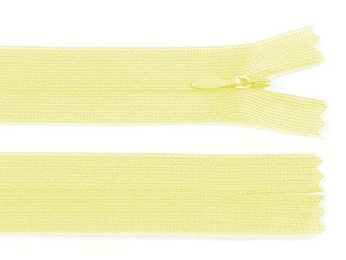 Schnoschi 2 Stück 50 cm Langer Spiralreißverschluss, nahtverdeckt, Nicht teilbar, pastellgelb, 3mm Laufschiene, Reißverschluss