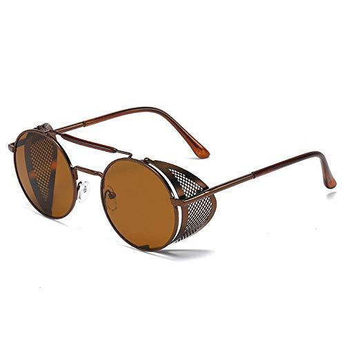 Gafas de sol redondas de metal vintage para hombre, diseño de gafas de sol