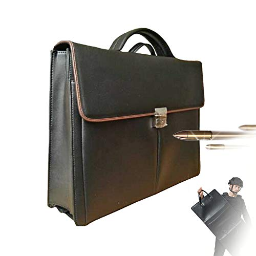 TBDLG Lightweight and Stab-resistant Attache Case, Black Bull-etproof Leather Briefcase, Put Documents, Laptop, Police Gift, 44 * 84 * 8.5cm