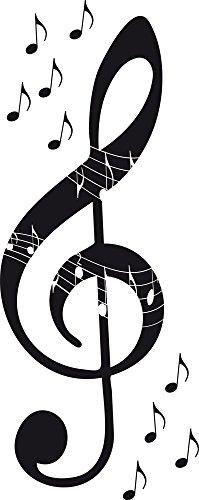 GRAZDesign Wandtattoo Musik mit Noten - Wandsticker Violinschlüssel - Wohnzimmer Deko Notenschlüssel cool / 75x30cm / 070 schwarz