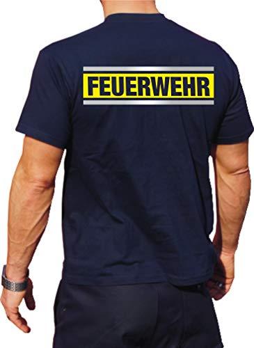 Feuer1 T-shirt fonctionnel Navy avec protection UV 30+ Motif pompiers Argenté/jaune fluo/argenté L bleu marine