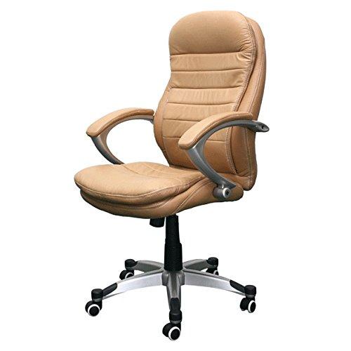 Jet-line Echtleder Bürostuhl Rom beige Büro Ausstattung Leder Chef Sessel Stuhl Drehstuhl Büroausstattung Homeoffice Home Office