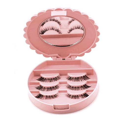 Xshuai® Portable Acrylique mignon Nœud Boîte de rangement pour faux cils Maquillage Miroir de maquillage Coque Organiseur 10*3 cm