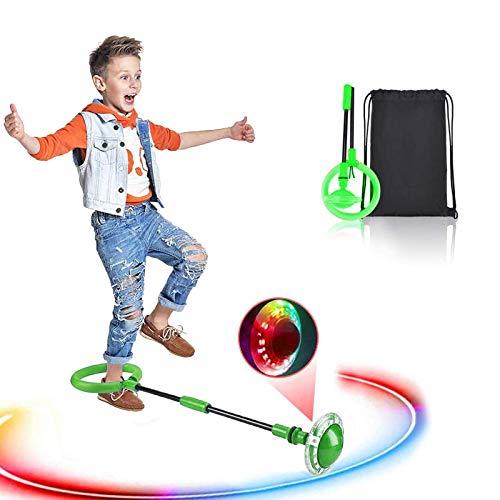 Swing Wheel mit Lichtrad, Kinder Blinkender Springring Fußkreisel, Faltbare Glühender Springender Ball, lustiges Spielzeug für Kinder und Erwachsene, Outdoor-Hüpfspiel (Grün)