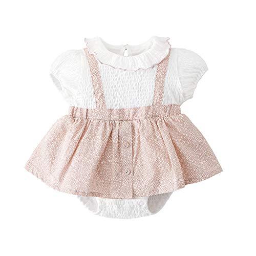 ベビー服 ワンピースサロペット風夏服 女の子半袖カバーオール背中ボタン赤ちゃん出産祝いプレゼント通園服花柄ピンク73�p