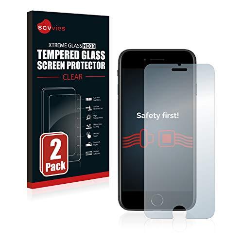 savvies Cristal Templado Compatible con Apple iPhone SE 2 2020 (2 Unidades) Protector Pantalla Vidrio Proteccion 9H Pelicula Anti-Huellas