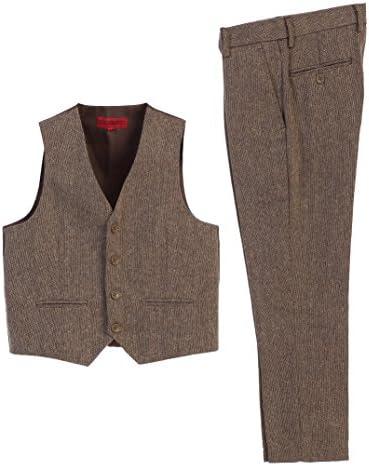 Gioberti Boy s 2 Piece Tweed Plaid Vest and Pants Set Barleycorn Brown Size 8 product image