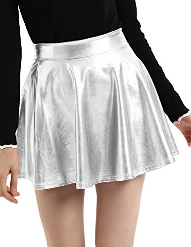 Kate Kasin Women's Shiny Metallic Skater Skirt Fashion Flared Mini Skirt Silver