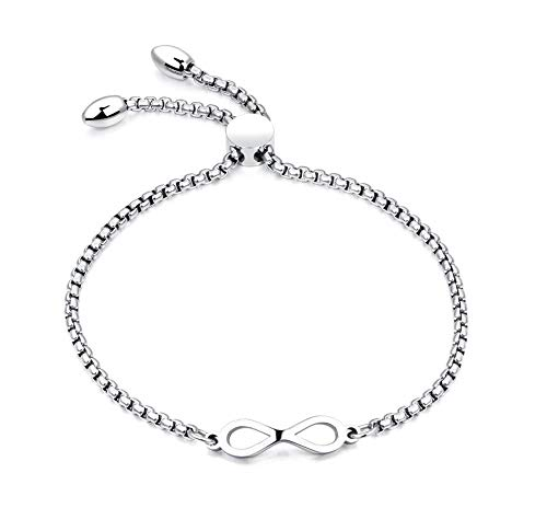 MiniJewelry Simple Infinite Charm Adjustable Silver Stainless Steel Bracelet for Women Girl, 4-8 Inch