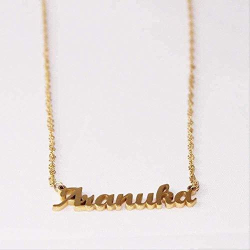 NC188 Collar Moda Collar Personalizado Color Dorado Acero Inoxidable con Nombre Collar Colgante Placa de identificación con Cadena Trenzada Moda