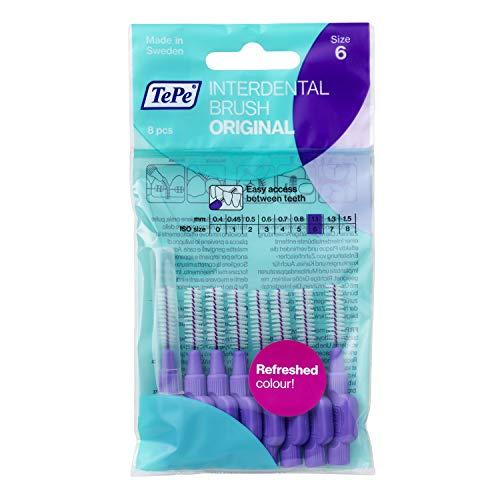 TePe Cepillos interdentales Original / Palillos interdentales / Tamaño 6, diámetro 1,1 mm / pack de 8, color morado