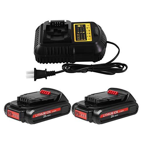 2 Packs 3.0Ah 20 Volt Max Lithium Battery and DCB105 Charger for Dewalt 12V/20V Battery Compatible with Dewalt DCB203 DCB200 DCB201 DCB204 DCB205 DCB206 DCB207 Cordless Power Tools Batteries
