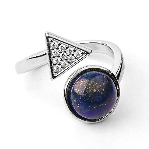 RTHB Anillo Abierto para Mujer,Moda para Mujer Ajustable Natural Redondo Lazuli Lapis Gem Triángulo con Incrustaciones De Diamantes De Imitación Elegante Anillo De Plata Joyería Delicada para Mujeres